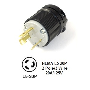 Picture of NEMA L5-20P Plug - 2-Pole/3-Wire  20A, 125V