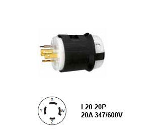 Picture of Hubbell L20-20P Twist-Lock® Plug 20A/3ØY 347/600V