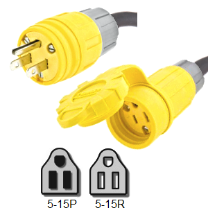 Picture of 5-15 Watertight Extension Cords Rated for 15A, 125V