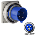 Picture of 3125B6W Inlet -  125A, 250V 2-Pole / 3-Wire, IEC60309