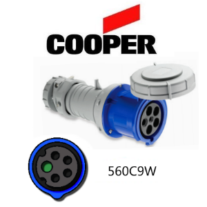Picture of Cooper 560C9W Connector -  60A, 220V - 250V, 4-Pole / 5-Wire, IEC60309